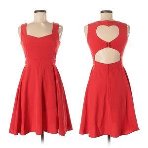 ModCloth Coco Love Red Heart Back Cutout Dress